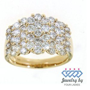 Natural Cluster Diamond Cocktail Ring Yellow Gold